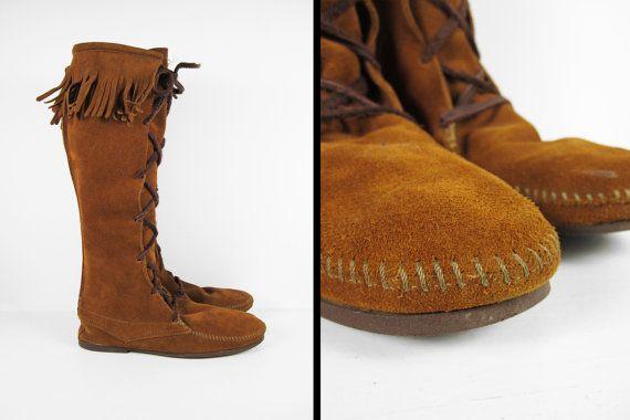 Vintage Minnetonka Men's Moccasin Boots Fringe by MemoryVintage