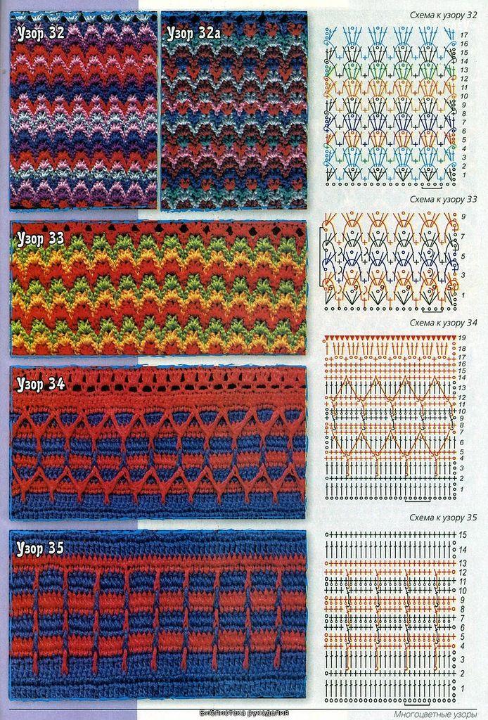 многоцветные узоры крючком схемы с описанием фото лак основе геля
