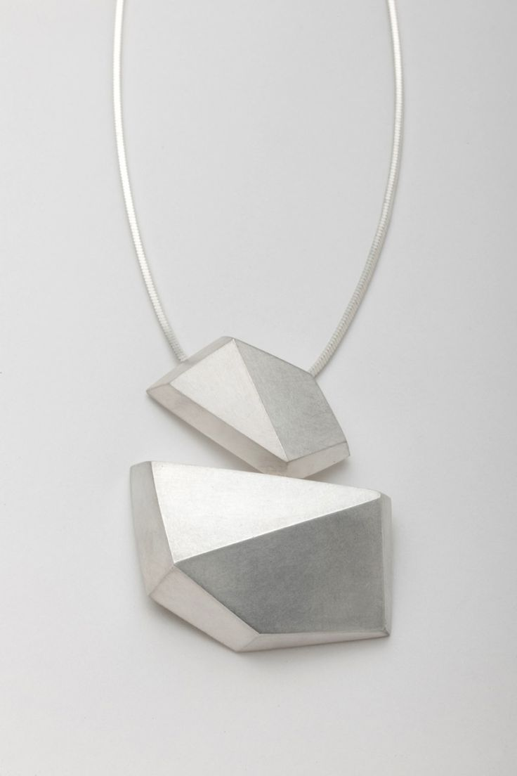 """Facet Form"" jewel necklace artwork in sterling silver 