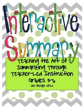 (Freebie) Summarizing can be one of the most difficult reading skills for intermediate students to master. The skills taught in this download will help students master the art of summarizing through teacher-led, interactive lessons.     Also included are examples of how to use summarizing as a starting off point to teach other grammar, spelling, and mechanics skills throughout the year!!