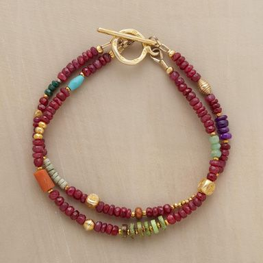 """JUBILATION BRACELET -- Two joyful strands with rubies, sugilite, gaspeite, chrysoprase, tourmaline, pyrite, coral, clay, sterling silver plus 22kt goldplate highlights. Exclusive. Handcrafted in USA. Approx. 7""""L."""