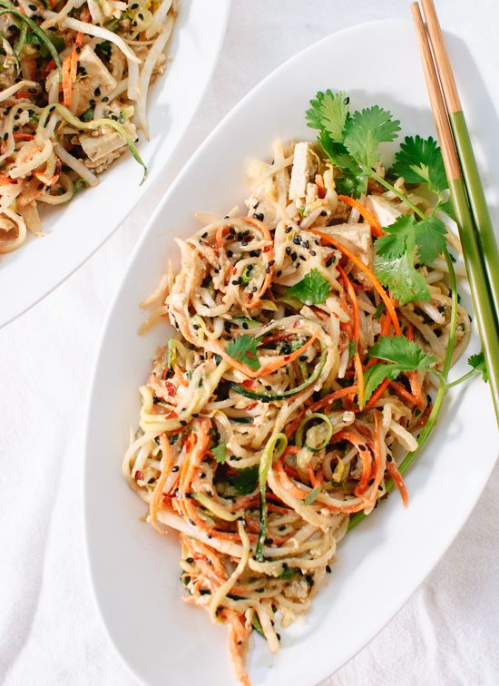 Light, healthy spin on pad Thai using raw vegetable noodles instead of rice noodles! Savory peanut sauce makes this salad-y dish irresistible. Gluten free.... Low FODMAP-- sub honey and use tops of green onion only