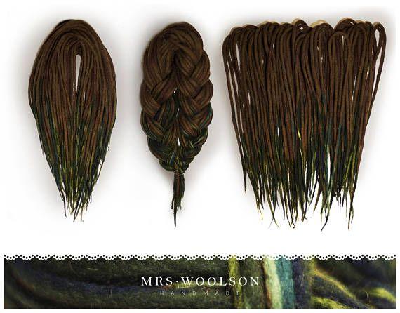 FULL HEAD 40 DE Brown / green wool dreadlocks forest love  https://www.etsy.com/shop/MrsWoolsonHandmade ● #woolies #wooldreadlocks #wooldreads #dreadlocks #dreads #rasta #tribal #gypsy #dreadextensions #dread #handmade #handmadedreadlocks #wool #greendreads #forestdreads #moss #green