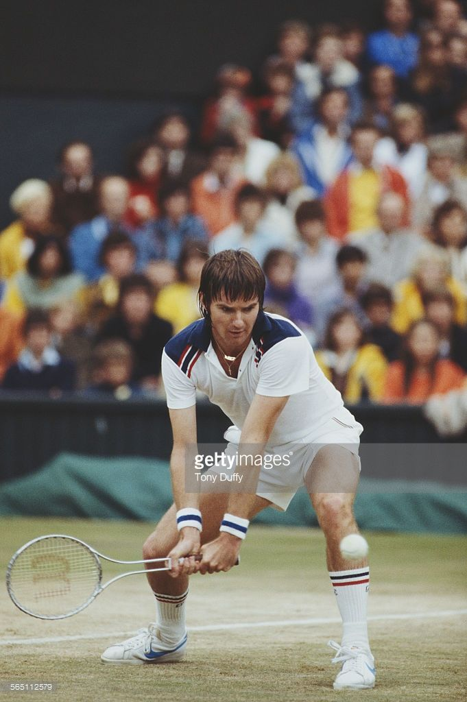 Jimmy Connors of the United States during a Men's Singles match at the Wimbledon Lawn Tennis Championship on 26 June 1983 at the All England Lawn Tennis and Croquet Club in Wimbledon in London, England.