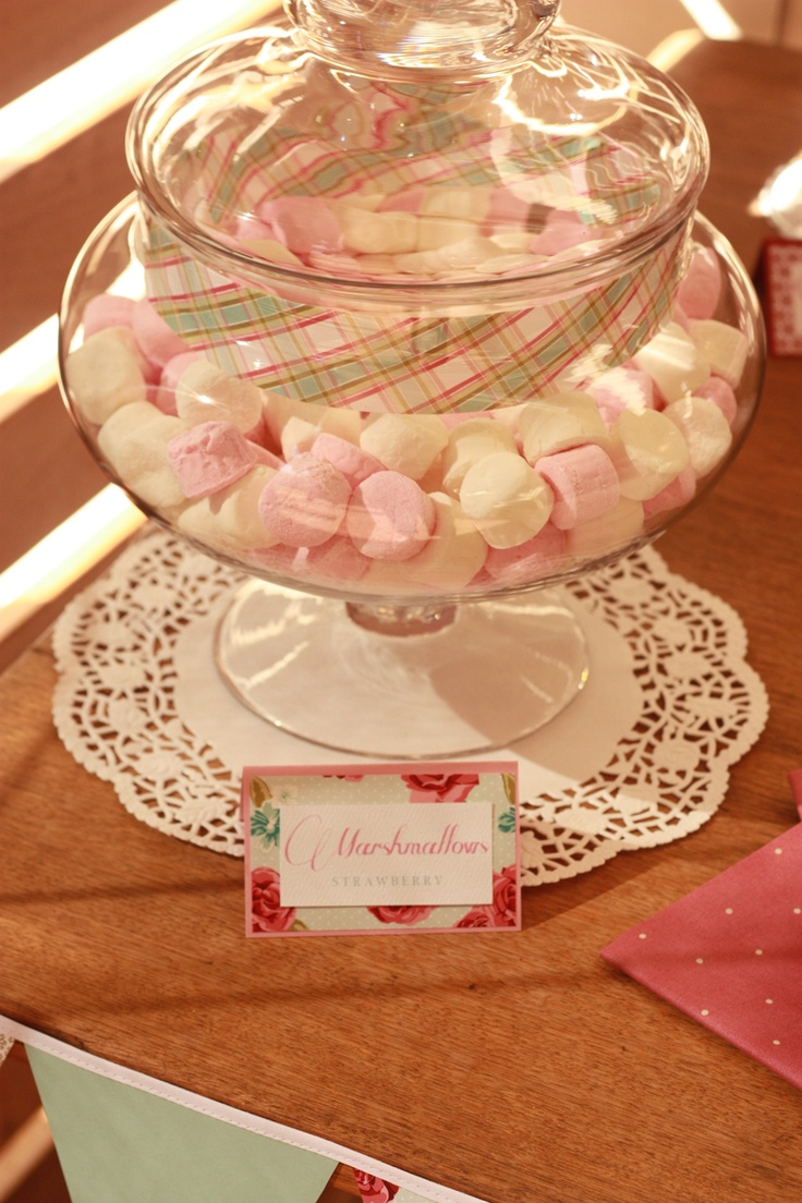 Marshmallows - the band around the glass jar is made from Lucy Stripe.