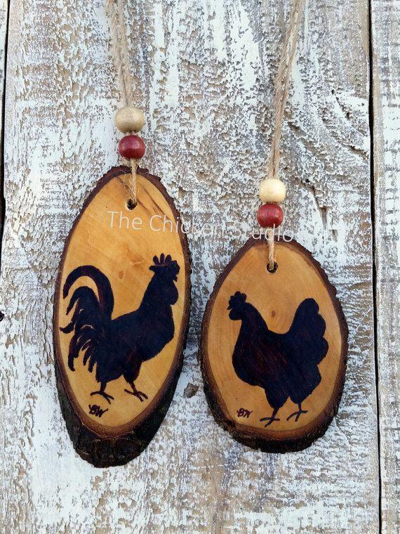 Coq et poule ornement, ornement de poulet, ornements de Noël, ferme, ornement de la ferme, cadeau