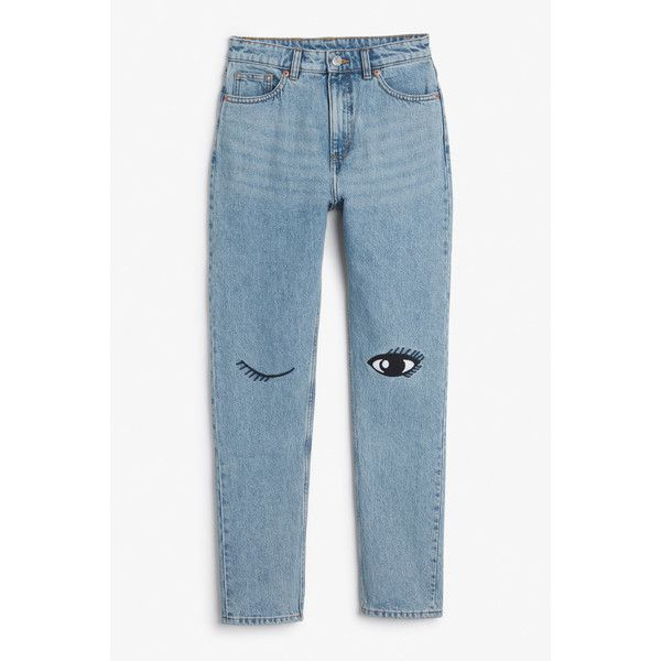 Kimomo eyes - Light blue - Jeans - Monki ($25) ❤ liked on Polyvore featuring jeans, light blue high waisted jeans, highwaist jeans, high rise jeans, monki and blue jeans