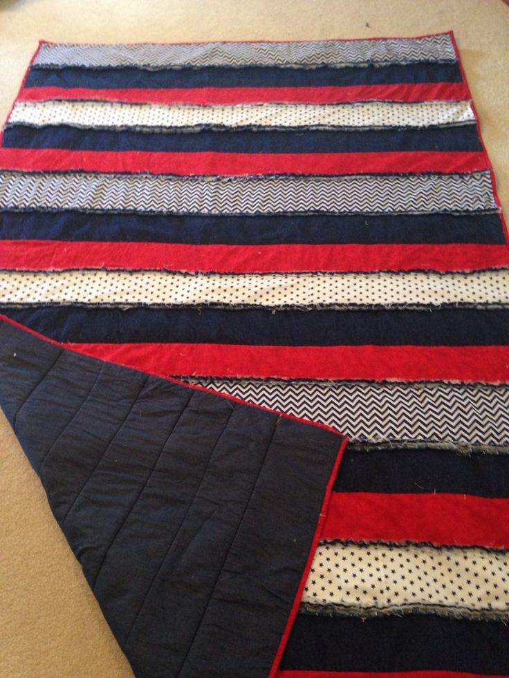 Strip rag quilt I made for teenage sons bed.
