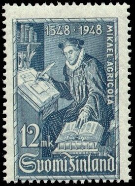 Postage stamp depicting the Finnish bishop and founder of written Finnish language, Mikael Agricola - 1948 Published by Posti- ja telelaitos
