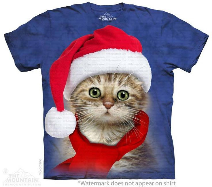 Santa Cat Blue T-Shirt - Click image to see hundreds of different animal t-shirts #themountaintees