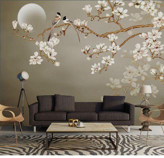 One Large Branch Tree White Flowers Wallpaper Wall Mural Magnolia Floral Wallpaper Flowers And Birds Oriental Wall Murals Bloemen Behang Decoraties Decoratieve Muren