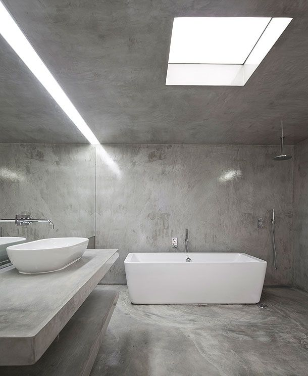concrete bathroom // repinned by www.womly.nl #womly #interieur
