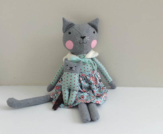 Heirloom Cat Doll with Kitten Rag Doll Cat Stuffed Cloth Cat