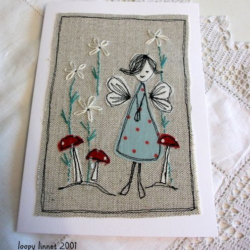 Fabric appliqué card - Folksy More
