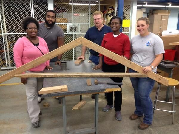 Rafter building in ag mechanics.  Simple design but a lot harder to build that it looks. - Tennessee State Univ. Ag Ed www.onelessthing.net
