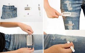 Cómo romper o rasgar tus jeans con un rallador