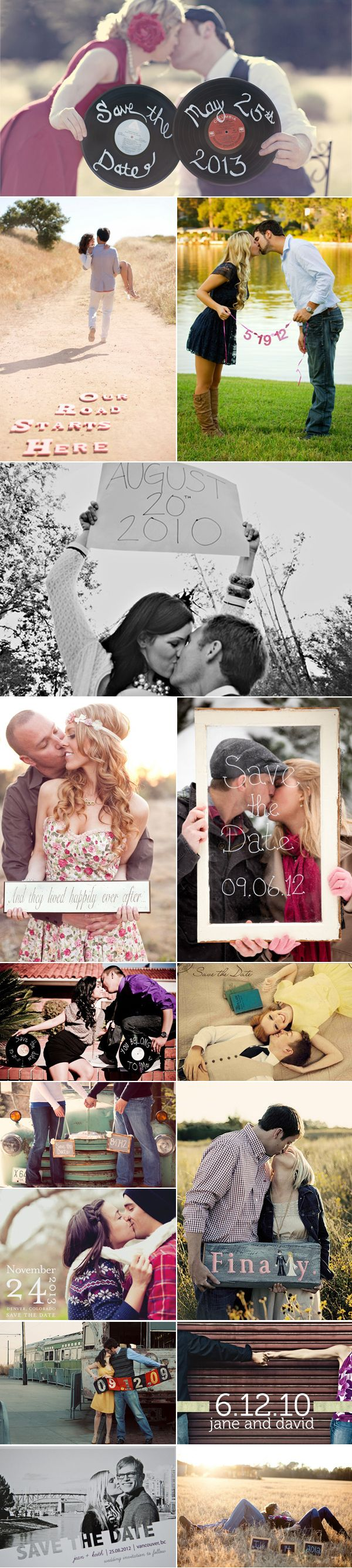 Save the date photos Omg I love the one that says our road starts here!