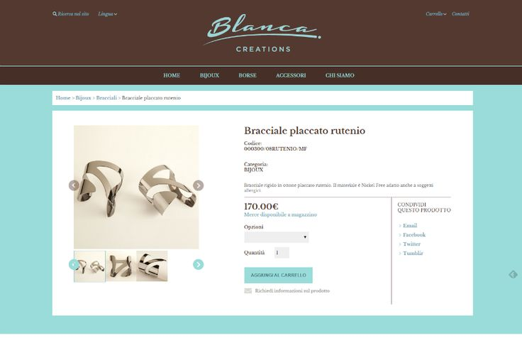 Particolare Scheda Prodotto | Bracciale placcato rutenio | Blanca Creations