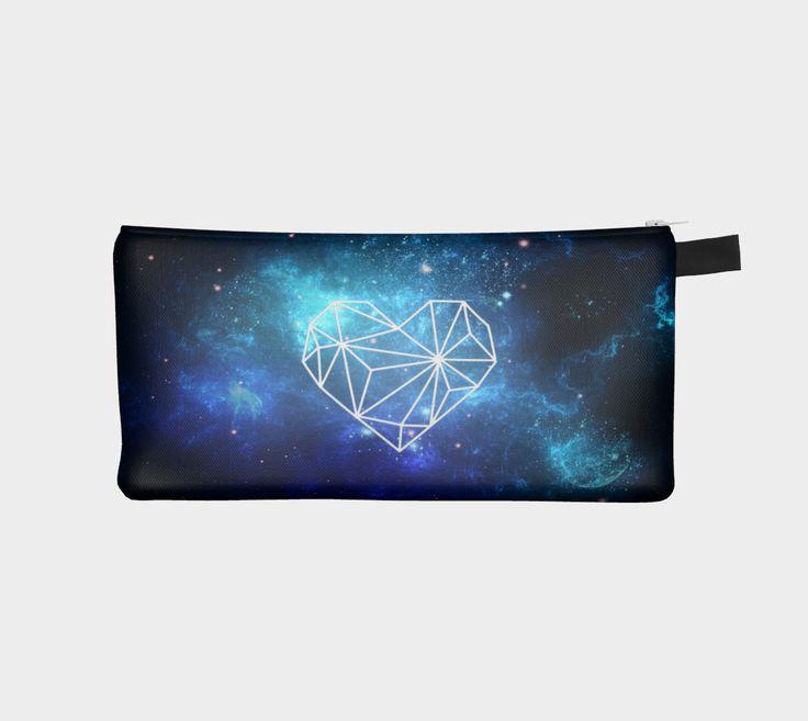 Geometric Heart Galaxy Makeup Bag