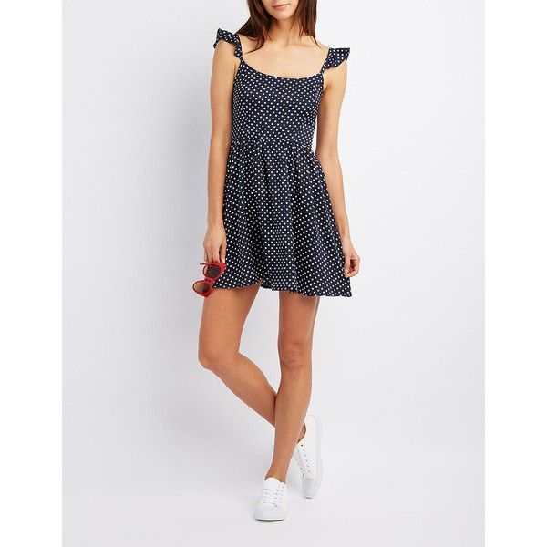 Charlotte Russe Polka Dot Smocked Skater Dress ($25) ❤ liked on Polyvore featuring dresses, navy combo, navy blue polka dot dress, polka dot skater dress, sleeveless skater dress, navy polka dot dress and flutter-sleeve dresses