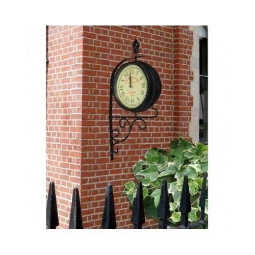 Victorian Dual Faced Clock Garden Outdoor Station Rustic Bracket Decorative