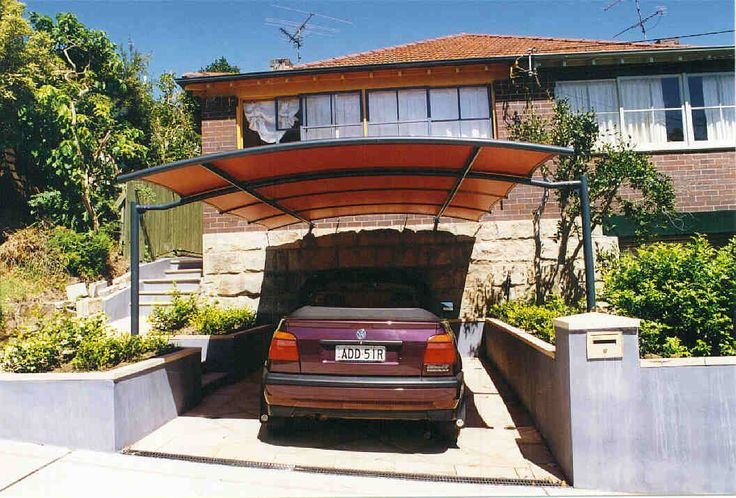 Carport curved batten awning