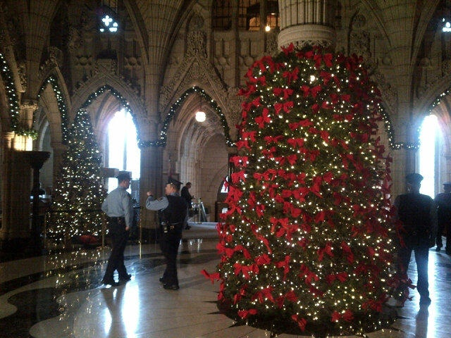 Christmas decorations inside Parliament Hill. Photo courtesy of Alex Lewis @AlexLewisOttawa