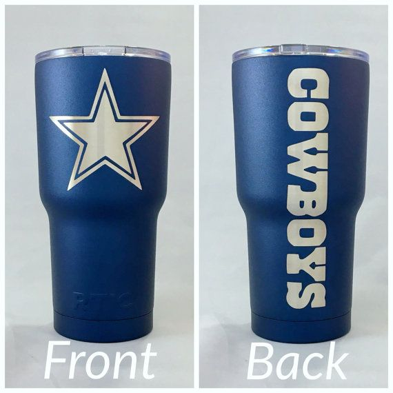 Dallas Cowboys Blue/Silver 30oz RTIC Tumbler Rambler  30oz. RTIC Tumblers are stainless steel, double wall vacuum insulated. Keeps your drinks ice cold longer - works great for hot beverages. The crystal clear lid lets you know exactly how much drink you have. Easy to clean.  Please note that colors may appear differently in person due to variations in computer screens.**  Care: HAND WASH ONLY. This is NOT dishwasher or microwave safe.
