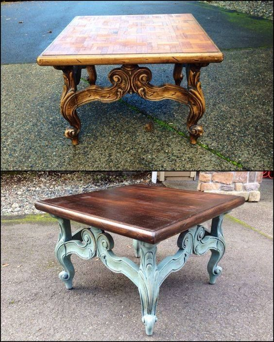 Refinish a vintage end table... top is stained darker, base is painted and aged.