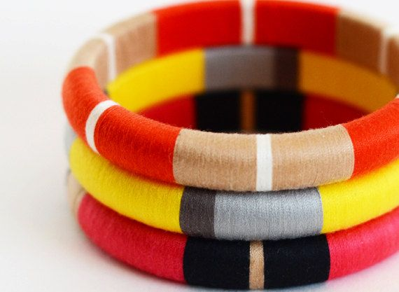 Colorblock Layered Bangles with Stripes in Bright Summer Colors - Item 500D. $60.00, via Etsy.