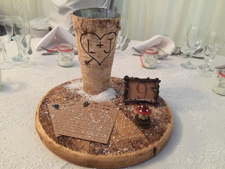 Wedding table centre piece. Happy couple.
