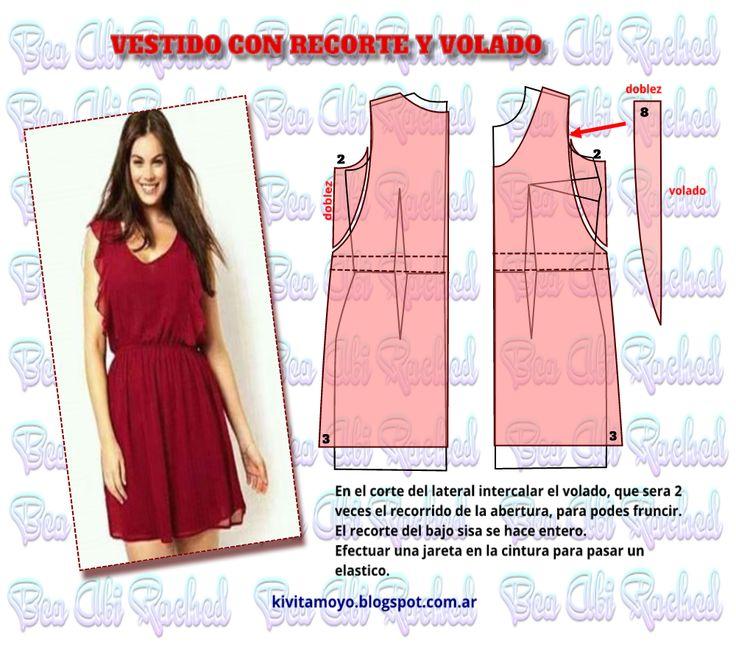 Dress pattern   KiVita MoYo: VESTIDO CON RECORTE Y VOLADO
