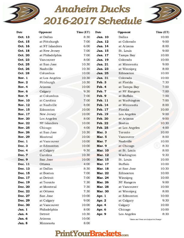 Printable Anaheim Ducks Hockey Schedule 2016 - 2017