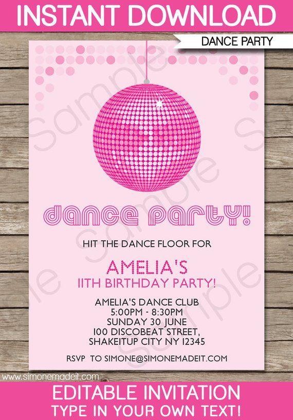 Dance Party Invitation Decorations Printable Disco Birthday Etsy Dance Party Invitations Party Invite Template Dance Party Birthday