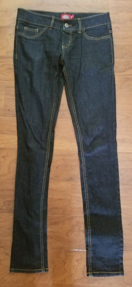 Dickies Girl Junior Size 3 Legging Skinny Fit Jeans Low Rise Stretch Dark Wash  #DickiesGirl #JeansSkinnyLeggings