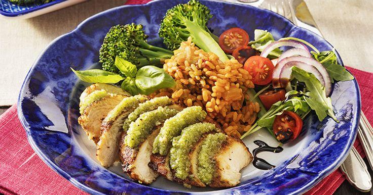 kycklingfilé med pesto och risotto