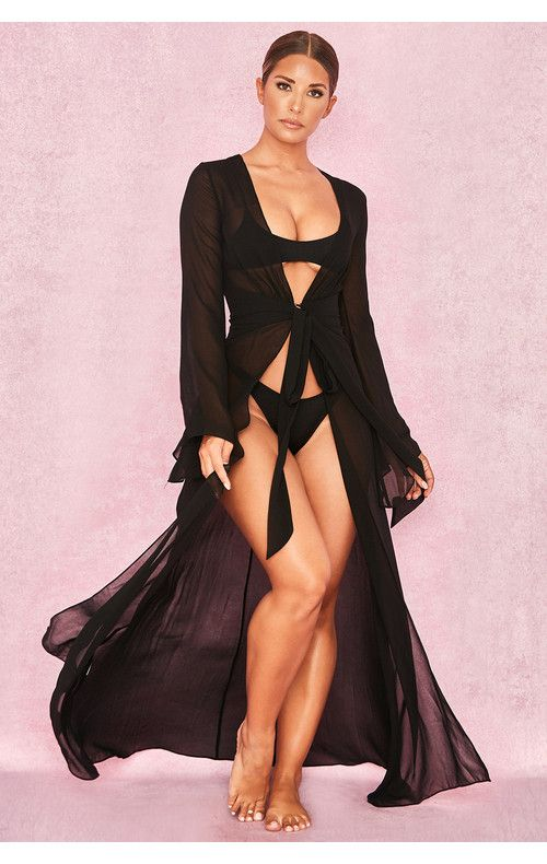 4901aec02ec9e Clothing : Swimwear : 'Evisa' Black Chiffon Beach Maxi Dress Cover ...
