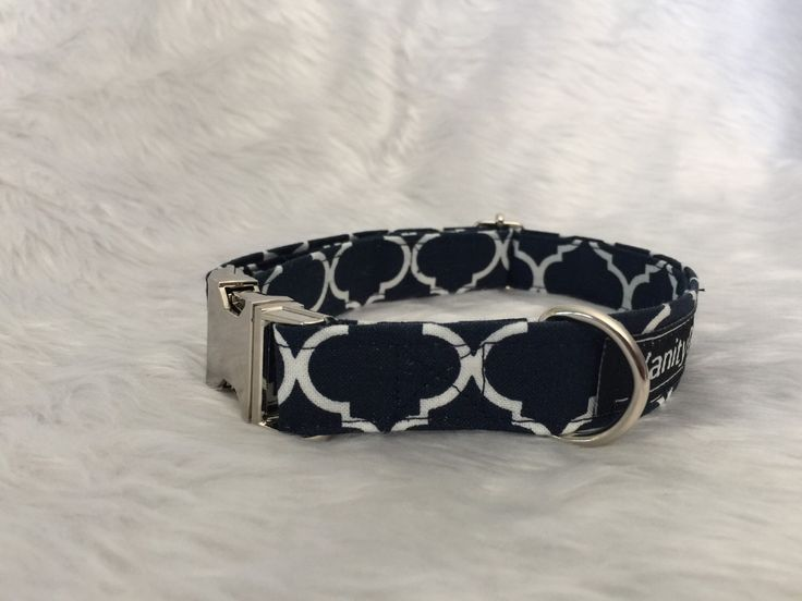 A personal favourite from my Etsy shop https://www.etsy.com/au/listing/274035342/navy-white-dog-collar