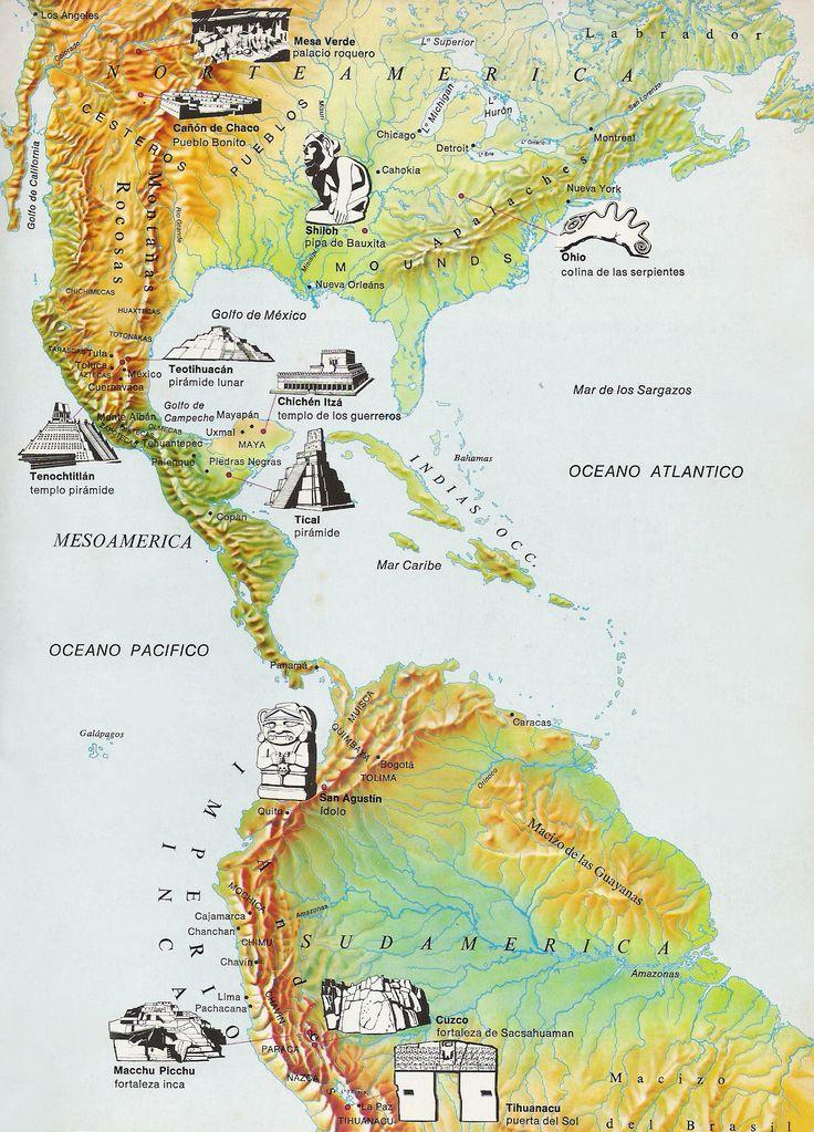 Mapa de los pueblos y civilizaciones precolombinas.