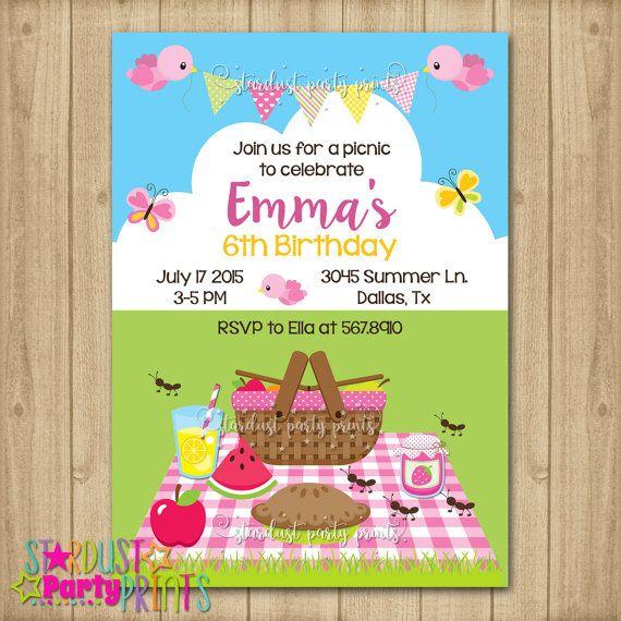 Invitación de picnic cumpleaños invitación por StardustEvents
