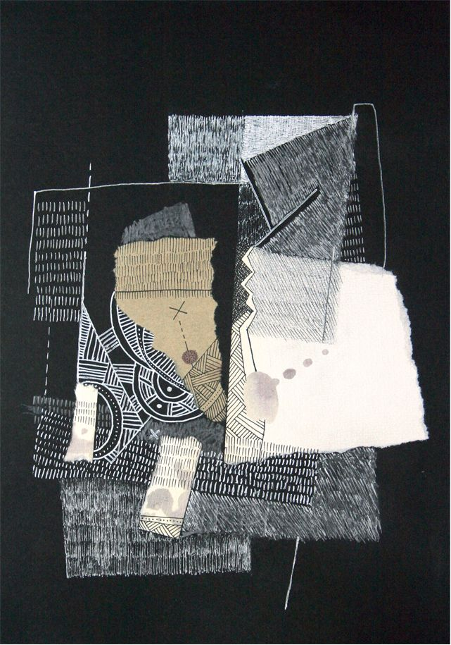 """El morochazo"". Collage sobre papel. 30 x 20 cm. 2012."