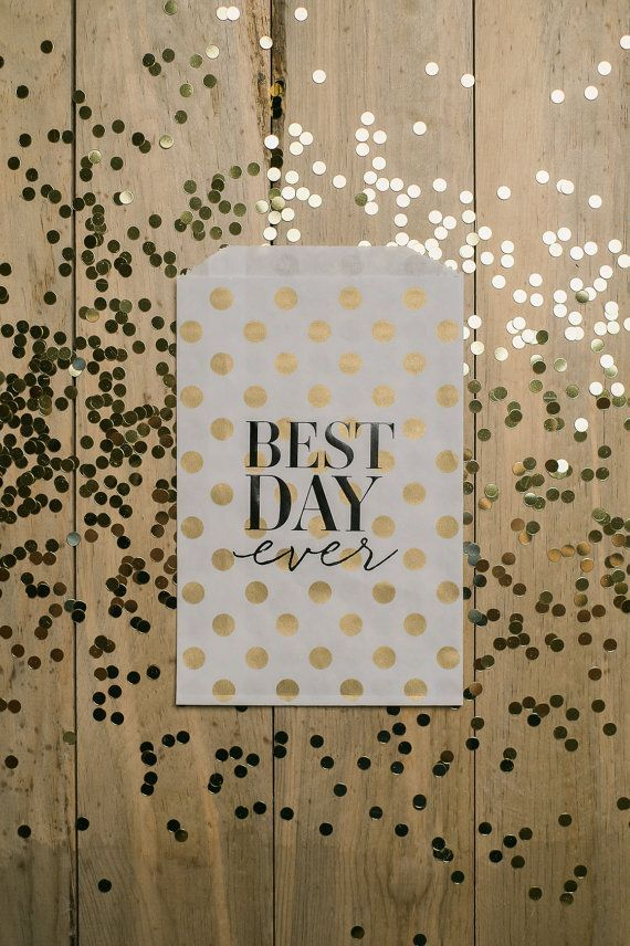 "25qty - ""Best Day Ever"" - Gold Polka Dots with Black Foil - Foil Stamped Treat Bags, wedding reception supplies, party supplies, candy bar, treat bar, wedding favors"