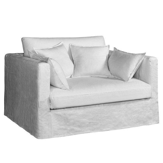 Canapé fixe 2 places NÉO KINKAJOU, toile lin froissé, BULTEX AM.PM