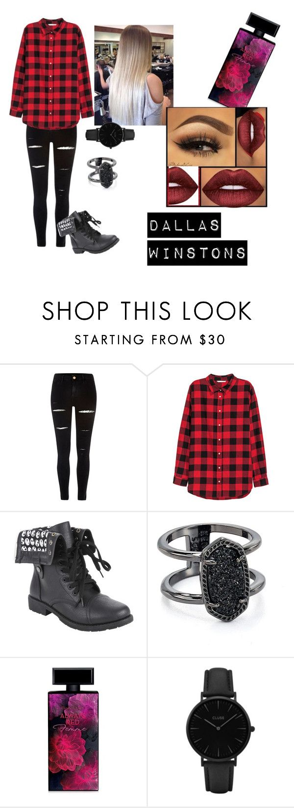 """dallas winston"" by gracie01531 ❤ liked on Polyvore featuring River Island, H&M, Kendra Scott, Elizabeth Arden, CLUSE and Lime Crime"