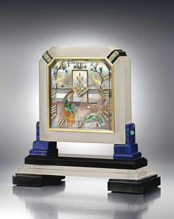 Cartier Mother of Pearl, Onyx, Diamond & Frosted Rock Crystal Mantel Clock, 1925