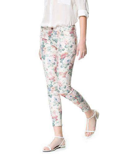 Floral Print Trousers - Zara