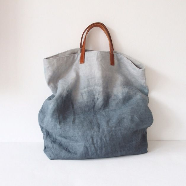 Tasche aus Leinen und Leder, dip dye // big shopper, leather and linen via DaWanda.com