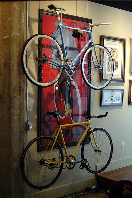 Bike Wall by ryannicholasjones, via Flickr: Bike Storage, Bicycles Storage, Apartment Storage, Apartment Therapy, Bike Racks, Spaces Save, Beaches Houses, Bicycles Racks, Storage Ideas