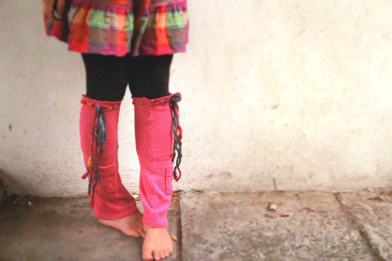Upcycled, Leg Warmers, Pink, Rainbow, Repurposed, Salvaged, Warm, Sock, Pocket, Ballet, Flared,Women, Girls, Festival, Hippie, Ecofashion by BobbyandBoo