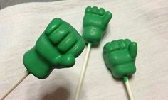 Hulk hand cake pops